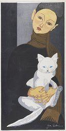 Boy Holding a Cat   woodblock print with ink and color, 1957    Sekino Jun'ichirô  -----Harvard Art Museums