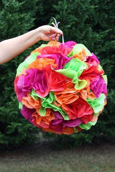 Flower Ball Pinata. Pomander.  Wedding Decor.  Bachelorette Party Activity.  Bridal Shower.. $65.00, via Etsy. make my own