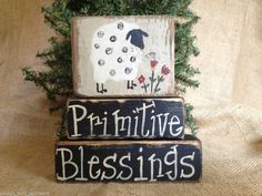 Primitive Country Sheep Primitive Blessings Shelf Sitter Wood Block Set #Primitive #Sheep