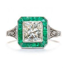 Emerald Diamond Ring- Trumpet & Horn