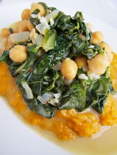 Coconut braised spinach and chickpeas with curried sweet potatoes