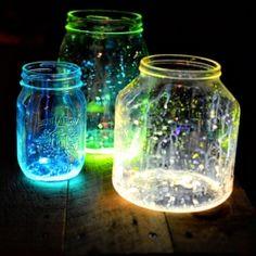 Glow Jars glow sticks, diy crafts, summer parties, glow jars, craft gawker, mason jars, glitter jars, diy projects, kid