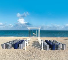 Isla Mujeres Palace. Colin Cowie #BeachWedding set up.