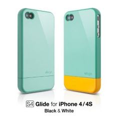 elago S4 Glide Case for iPhone 4/4S + Extra Bottom Clip + Front + Back Protection Film included (Coral Blue)