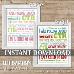 LDS Baptism Subway Art in brights or pastels... great gift idea