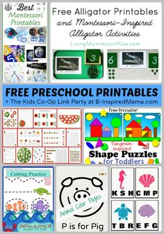 Tons of Free Preschool Worksheets and Printables + The Kids Co-Op Link Party at B-Inspired Mama