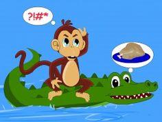 The crocodile reveals his evil plan to the monkey - the story of the monkey and the crocodile pictur, monkeys, crocodiles, clever monkey, evil plan, foolish crocodil, short stori, crocodil reveal, kid