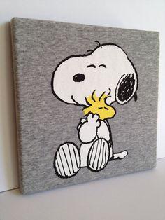 T-shirt Canvas Wall Art - Snoopy & Woodstock Peanuts