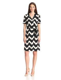 Karen Kane Women's Tribal Zig-Zag Belted Collar Dress - List price: $138.00 Price: $100.70