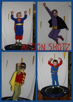 "Use a trampoline to get ""action shots"" of the Space Super Heros, BUT use a sheet with an outer space print as the back drop (instead of the white)."
