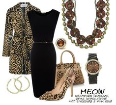 Leopard necklace, Piping Hot earrings, Style Watch, Mink Ring....Meow.