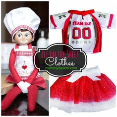 Elf on the Shelf Clothes - Aprons, Jerseys, Skirts - So cute!  #elfontheshelf #elfontheshelfideas