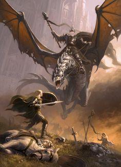 lotr, the lord, fan art, eowyn, witch king, dragon, tolkien, middl earth, art pieces