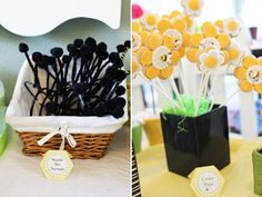 Flower Cookie Pops with Bees