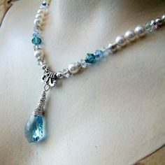 Blue, Pearl Necklace, Baroque Crystal, Bridal Necklace and Earring Set