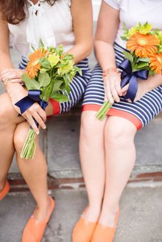 TOMS, striped pencil skirts and a fun summer color palette |  Photography by paperantler.com |  Floral Design by bunkerhillflorist.net |   Read more - http://www.stylemepretty.com/2013/07/01/thompson-island-massachusetts-wedding-from-paper-antler-photography/