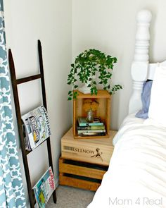 Thrifty Blue & White Cottage Bedroom Makeover - Mom 4 Real