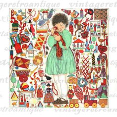 Large printable Christmas toys color illustration digital image for printing, iron on transfers, and many other uses. Antique artwork. Vector version available. This image features a Christmas scene with a child and Christmas toys. High quality, high resolution at 8½ x 11 inches. Need a larger size? This image can be upsized to any nearly size without quality loss. Transparent background version included with every graphic. Stock up and save Save up to 50% on your order, see ...