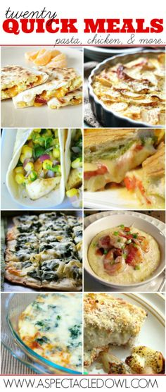 Twenty Quick Meals - Pasta, Chicken and More! - A Spectacled Owl