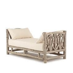 Rustic Daybed #4054 in Sandstone finish on bark, by La Lune Collection