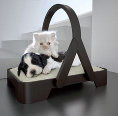 It's a warming bed for cats, dogs and puppies, designed to be placed next to chairs and sofas or to be carried easily around the house. Warm, elegant and comfortable, this new and re-interpreted version of the dog/cat crate-bed, embraces your pet with comfort and luxury.