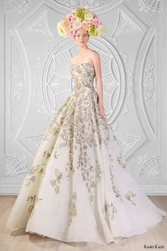 rami kadi spring 2014 couture collection hand embroidered strapless sweetheart neckline ball gown