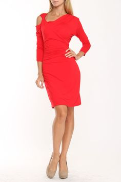 lily inc Asymmetrical Open Shoulder Dress In Red