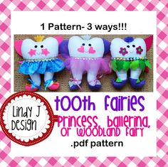 Tooth Fairy Doll- Princess, Ballerina and Woodland Fairy .PDF PATTERN. $5.00, via Etsy.