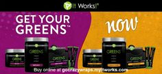 Get your Greens NOW!  Greens by It Works! Global are available in both Berry and Citrus flavors and come in a variety of sizes: regular, family-sized and packets for on the go.  Each serving is the equivalent of 8 1/2 fruits and vegetables added to your daily diet.  Buy online at https://gocrazywraps.myitworks.com and save up to 45%. beaches, fruit, season, fitness, girl fashion, fans, brides, glass, berries