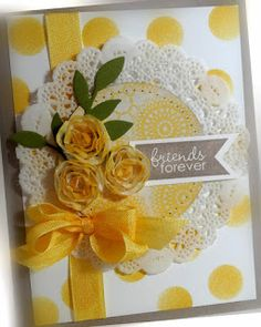 SU Banner Greetings, doilies, seam binding ribbon, floral trim  *layout (May 25, 2013)