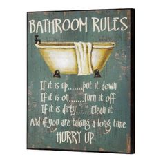 Bathroom Rules Wooden Wall Plaque --- Quick Info: Price £8.95 A perfect small piece of bathroom wall art to liven up any bathroom or cloakroom.  --- Available from Roman at Home. Images Copyright www.romanathome.com
