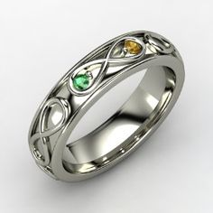 Infinite Love Ring, Sterling Silver Ring with Emerald