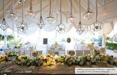 hanging lights, idea, wedding receptions, tent wedding, lighting, hilary duff, head tables, lanterns, outdoor weddings