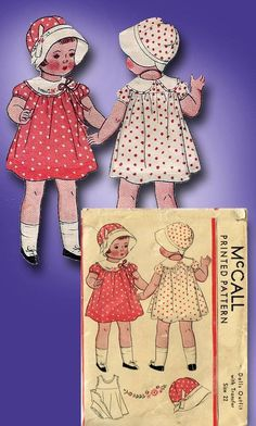 1930s Original Sweet 22 inch Doll Clothes Pattern w Cloche Hat | eBay