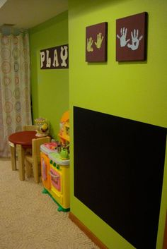 Playroom wall art ideas wall art, wall colors, wall decor, kid playroom, chalkboard walls, chalkboard paint, handprint art, hand prints, play room