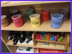 DIY Crayon buckets by color using recycled 'icing' containers for organization in classroom --color words