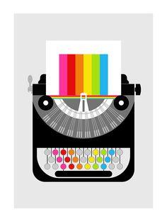 Rainbow typewriter poster print Mid Century Modern office retro vintage typewriter kitchen art - Rainbow Writer A3. via Etsy.