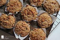 whole wheat apple muffins with walnut streusel! yum!! tastes like fall.