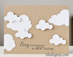 encouragement, cloud die, silver, silhouettes, cards clouds, cloud card, 3d cards, silhouette cameo cards, ink
