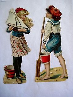 Delightful Vintage Die-cut Figures of Sailor Boy and Girl w/ Sailboat, Buckets