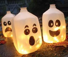 Milk Carton faces and string lights! My mom did this last Halloween- Just make sure the jugs get rinsed out completely!!!