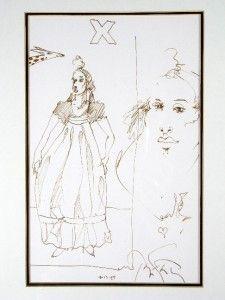 """Ramon Santiago """"Figure With Giraffe"""" Original Drawing"""
