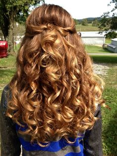 Girls/Pre-Teen Pageant Hair. Lots of soft curls, sides swept up, twisted and secured with pins in back. Front swoopy side bangs. Finished product: picture perfect pageant hair!