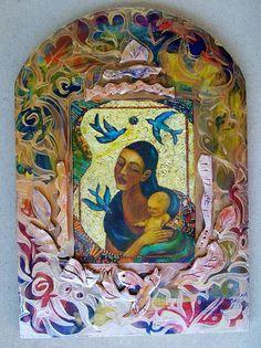 Guadalupe with Child Retablo Mosaic Latino Art by CristinaAcosta