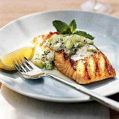 Grilled Salmon With Minted Cucumber Sauce | MyRecipes.com #myplate #protein