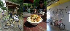 biking and eating