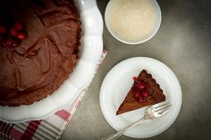 Flourless Chocolate Tart with Candied Cranberries