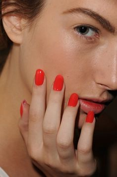 Bright Red-Orange Nails