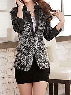 Women's Spring Elegant Pu Contrast Color Blazer