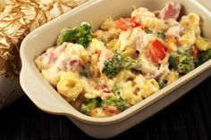 Creamy tortellini with ham and broccoli. The recipe calls for everything low or reduced fat; healthy eating can taste good!
